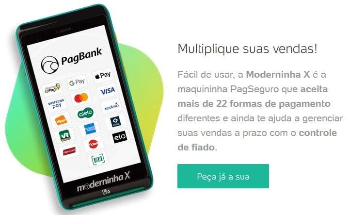 nova moderninha x aceita várias formas de pagamento